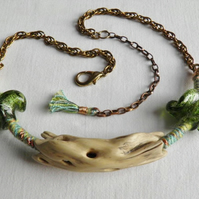 Green driftwood neck piece.  Driftwood statement neck piece.