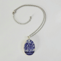 Recycled, vintage china pendant. Blue and white, floral, china pendant.