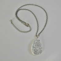 Recycled, vintage china pendant. Grey and white, floral, china pendant.