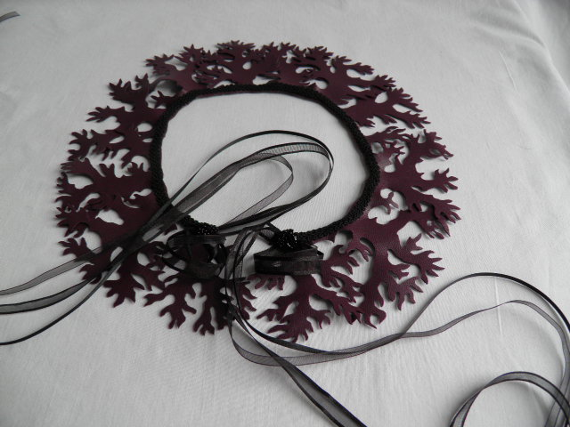 "Claret,  ""mermaid"" collar.  Fantasy, statement neck wear."
