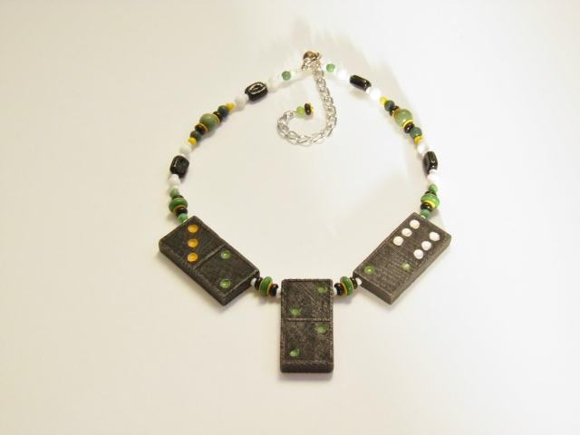 Yellow and green domino necklace.