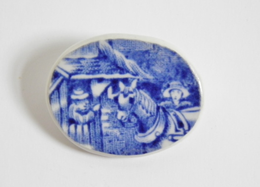 Recycled, vintage china brooch. Blue and white china brooch with horse.