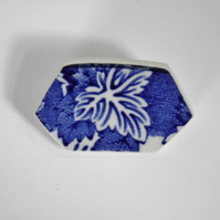 Recycled china brooch. Blue and white china brooch with leaf.
