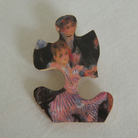 Renoir jigsaw brooch.  Quirky, art, puzzle brooch.