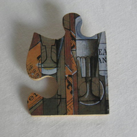 Braque jigsaw brooch.  Quirky, art, puzzle brooch.
