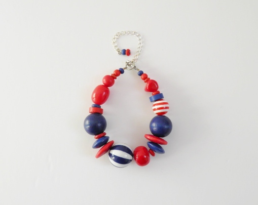 Chunky, red and blue, bead bracelet.  Bright red and dark blue bracelet.