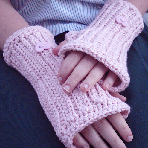 Crocheted Fingerless Gloves/Wristwarmers in Cotton