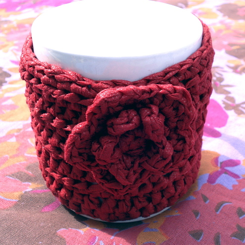 Burnt Red Mug Cosy Crocheted in 100% Polyamide
