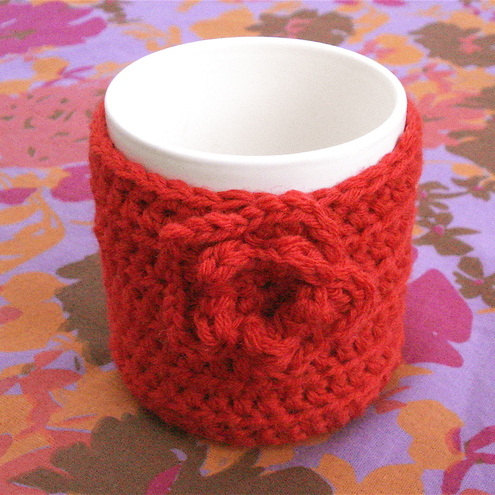 Lipstick Red Mug Cosy Crocheted in 100% Wool