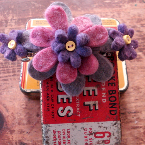 Large Barrette with Felt Flowers