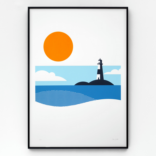 Lighthouse limited edition screen print, size A2, hand-printed in 4 colours