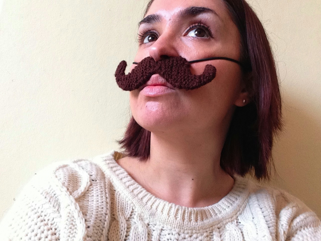 Knitted Brown Handlebar Moustache