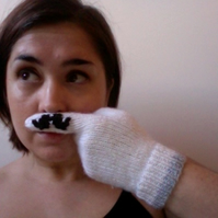 Knitted Moustache Gloves - RESERVED FOR COLIN ASKEW