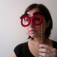 Crochet Lorgnette with Eyebrows - Reserved for Kate Lloyd