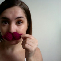Knitted Cerise Moustache Brooch - Reserved for Dagmar