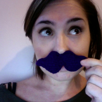 Knitted Purple Moustache Brooch - Reserved for Catrine