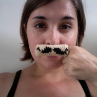3 Knitted Finger Moustaches - Handlebar - RESERVED FOR EMWA