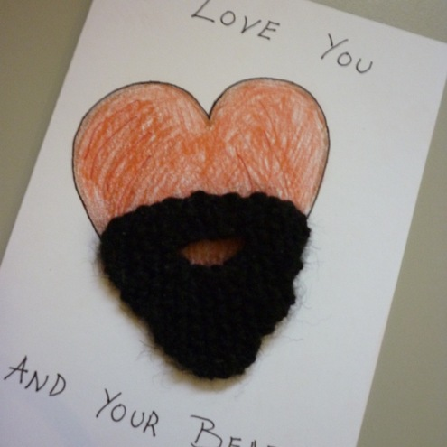 I Love You and Your Beard - Card with Knitted Beard Brooch
