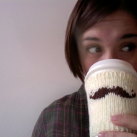 Knitted Moustache Cup Cozy