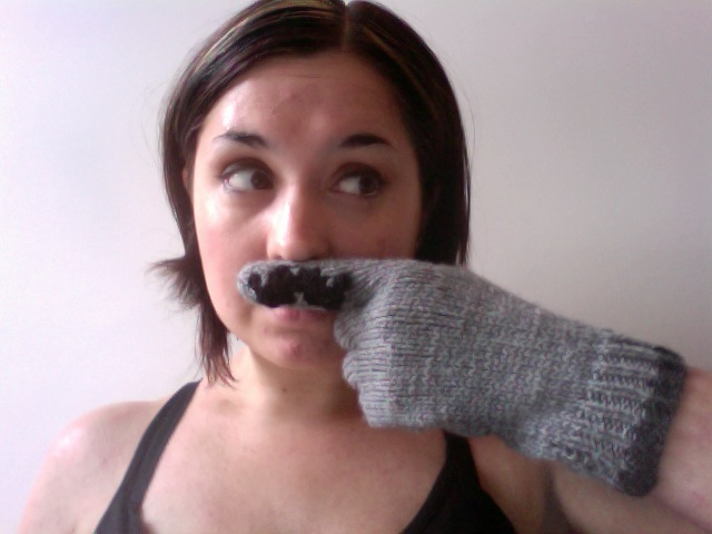 Knitted Moustache Gloves