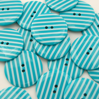 Turquoise Striped Buttons 54L 34mm
