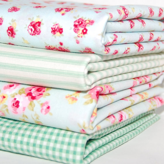 Rose & Hubble cotton poplin FQ bundle mint x 4