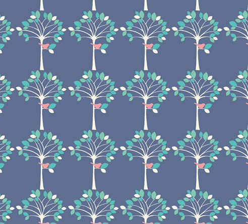 Woodland Animals - Blue Trees in Aqua