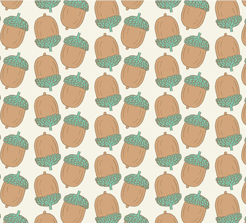 Woodland Animals - Acorns in Aqua