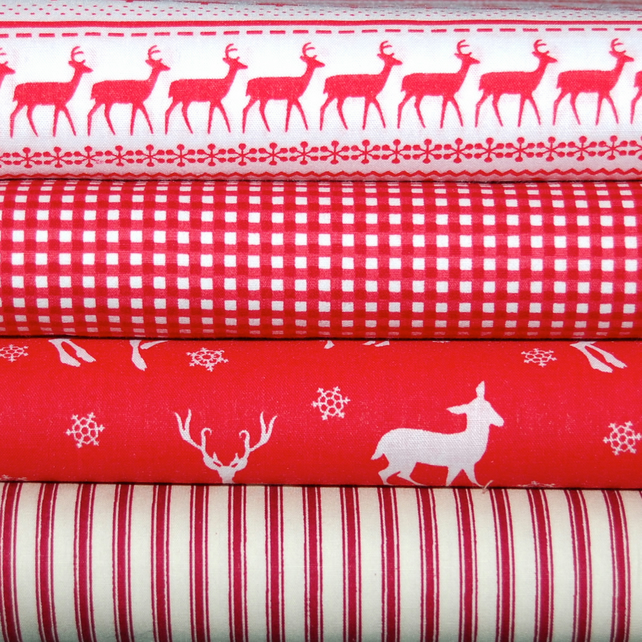 Scandi Nordic Christmas red bundle FQ