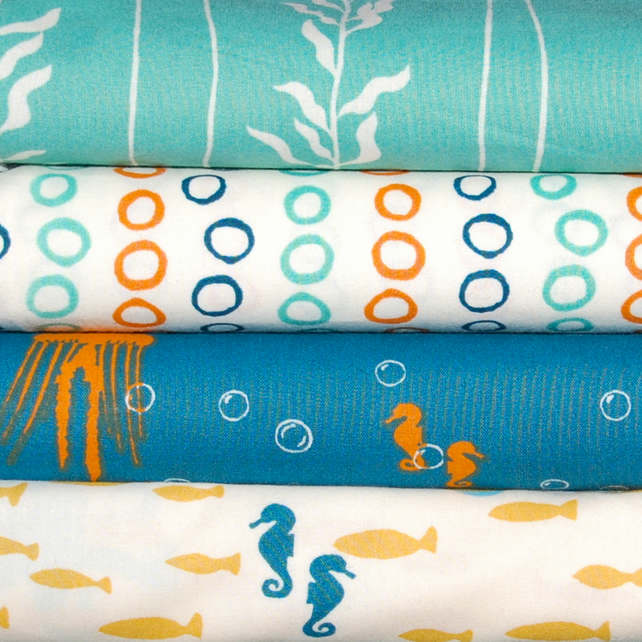 Beyond the Sea ORGANIC fabric - by JayCyn Designs Birch Fabrics x 4