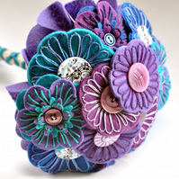 Hand embroidered Felt Button Bouquet in purple blue and turquoise