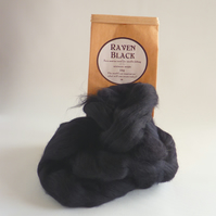 Black merino 'Raven Black' wool for needle felting and wet felting