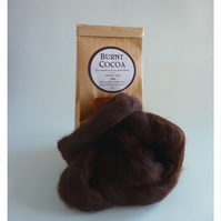 Deep brown merino wool 'Burnt Cocoa'  for needle felting and wet felting