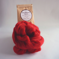 Deep red merino wool, 'Raspberry Sauce'  for needle felting and wet felting
