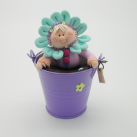 FLOWER FIGURINE COLLECTABLE, Polymer Clay Gift, Child's Room Miniatures