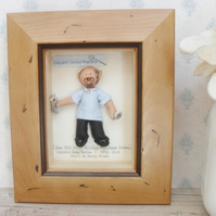 Personalised Dentist Gift, Dental Nurse MALE, Framed Characters, Retirement Gift
