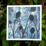 'Winter Bare' Cow Parsley & Teasel Fine Art Print from Original by Rosie Lomberg