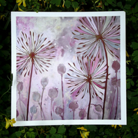 Alliums and Poppy Seed-heads. Fine Art Print from Original by Rosie Lomberg
