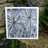 Allium and Poppy seed heads.Signed Fine Art print from original by Rosie Lomberg