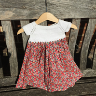 Baby girl's Liberty dress with knitted bodice