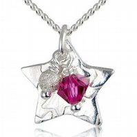 Childrens Little Star Necklace in Pink
