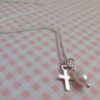 Children's Tiny Cross Charm & Pearl Necklace