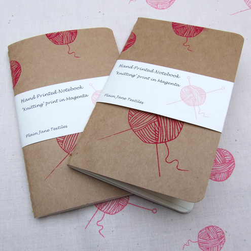 Hand printed knitting notebook in scarlet