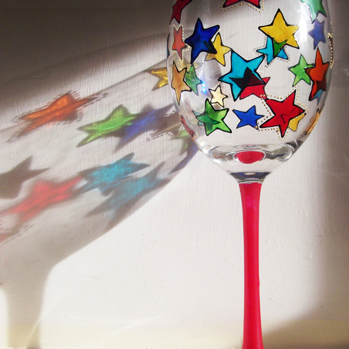 Hand Painted Star Wine Glass with Pink Stem