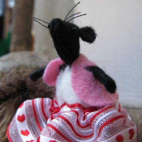 Small Black Felt Mouse in Red Skirt