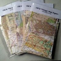 Old and Vintage Map Papers Pack of 20