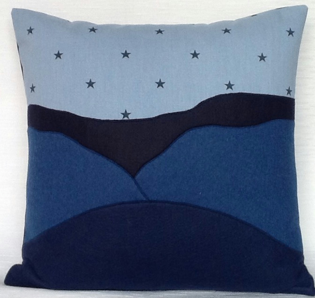 Blue Cushion with Stars - Free Delivery