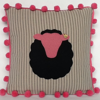Sheep Cushion in Pink and Black - Free Delivery