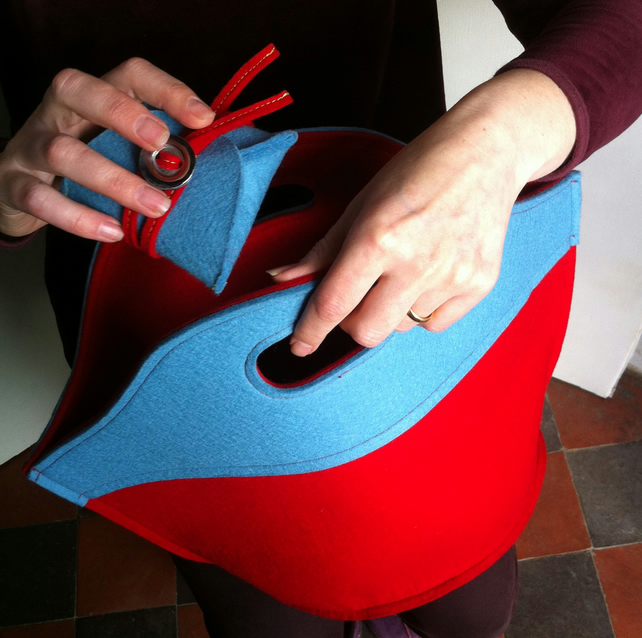 Light Blue and Red Handbag