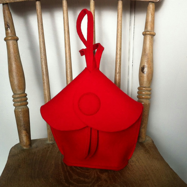 Red Felt small evening clutch bag